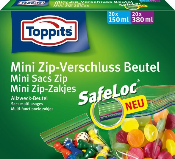 toppits mini zip verschluss beutel mit safeloc 1 packung 20 x 150 ml 20 x 380 ml 40. Black Bedroom Furniture Sets. Home Design Ideas