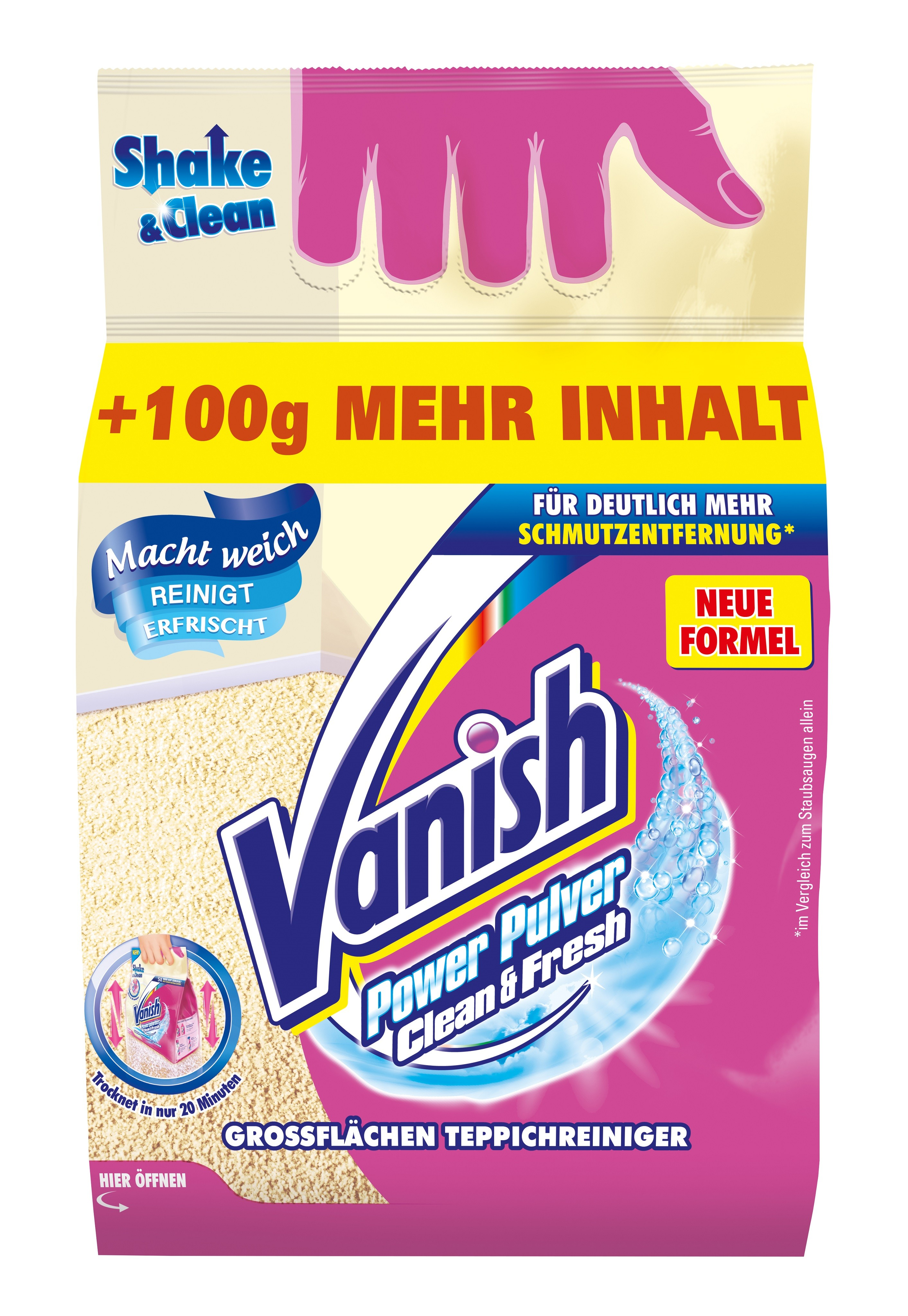vanish oxi power pulver teppich tiefenreiniger 750 g packung direkt als streubeutel. Black Bedroom Furniture Sets. Home Design Ideas